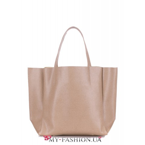 Классическая кожаная сумка бежевого цвета