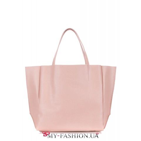Кожаная сумка нежно-карамельного цвета классического кроя