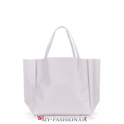 Белая кожаная сумка классического кроя