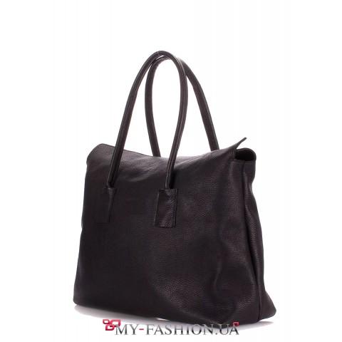 Чёрная кожаная сумка на одно отделение