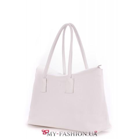 Белая кожаная сумка на одно отделение