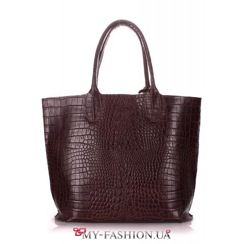 Женская кожаная сумка с тиснением