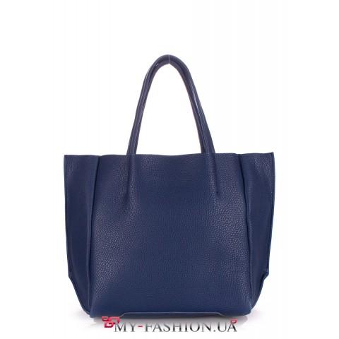 Женская кожаная сумка синего цвета