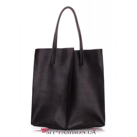 Сумка-мешок из натуральной кожи чёрного цвета
