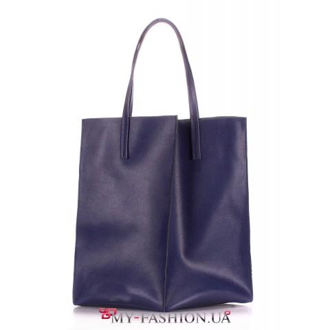 Сумка-мешок из натуральной кожи синего цвета