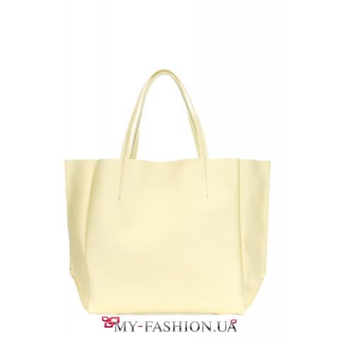 Кожаная сумка классического кроя жёлтого цвета