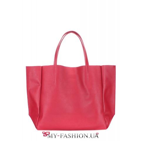 Кожаная сумка классического кроя красного цвета