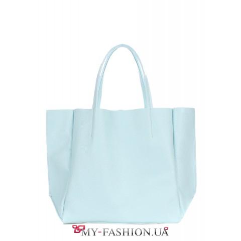 Кожаная сумка классического кроя голубого цвета