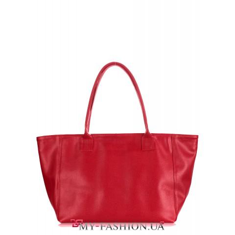 Огненно-красная кожаная сумка удлинённой модели