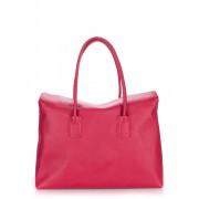 Кожаная сумка клубнично-красного цвета