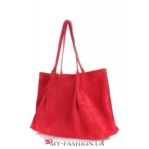 Красная велюровая сумка с ручками