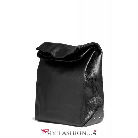 Стильный кожаный клатч чёрного цвета