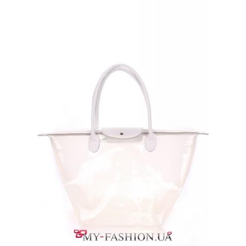 Прозрачная сумка белого цвета с клапаном