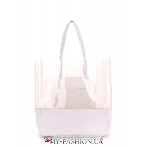 Стильная полупрозрачная лаковая сумка белого цвета