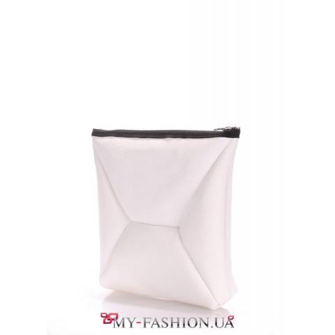 Белая кожаная сумка-клатч высокого качества