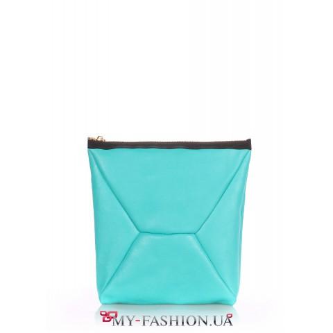 Голубая сумка-клатч из натуральной кожи