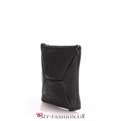 Чёрная сумка-клатч из натуральной кожи