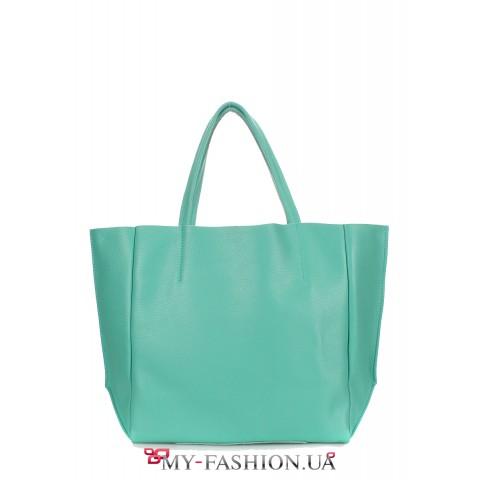 Классическая кожаная сумка цвета мяты