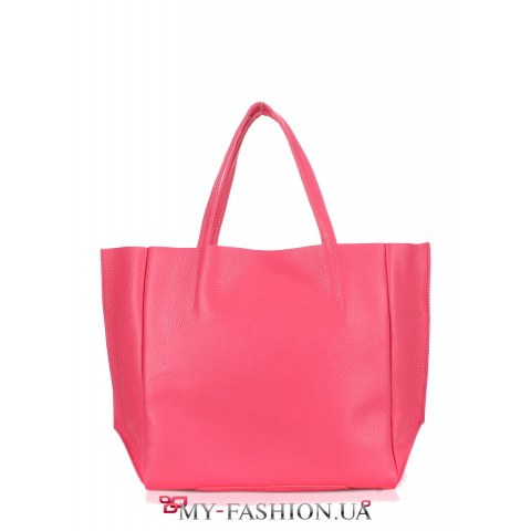 Классическая кожаная сумка розового цвета