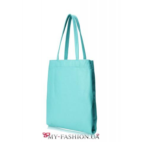 Кожаная сумка бирюзового цвета без подкладки