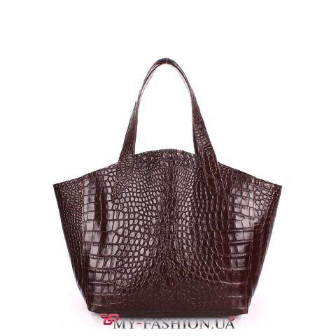 Кожаная сумка с тиснением под кожу крокодила