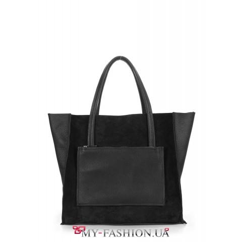 Двухсторонняя чёрная сумка из натуральной кожи