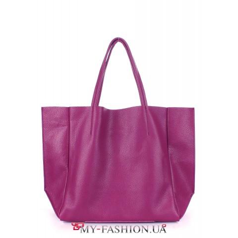 Женская кожаная сумка розового цвета