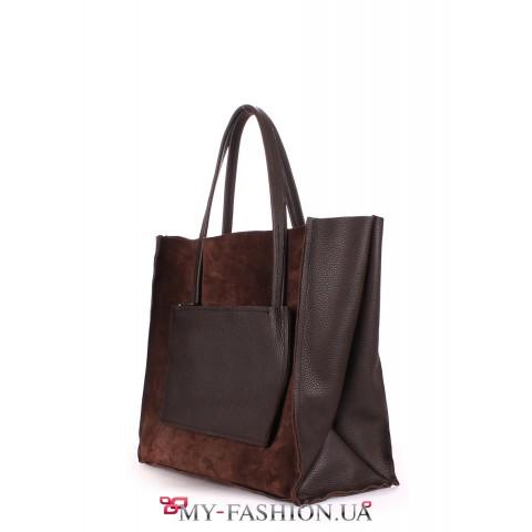 Двухсторонняя сумка коричневого цвета