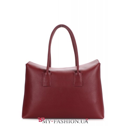 Кожаная сумка цвета марсала