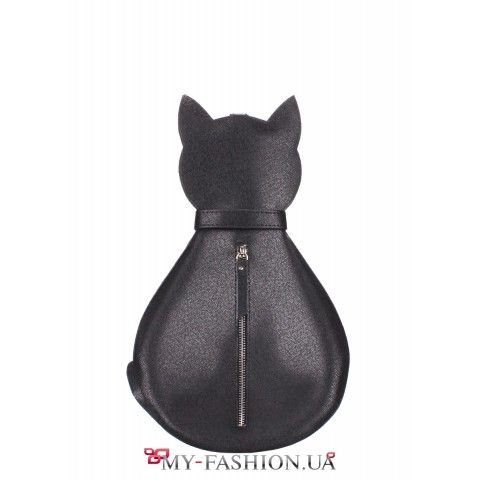 Чёрный женский рюкзак в форме кота