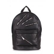 Чёрный кожаный рюкзак с металлическими молниями
