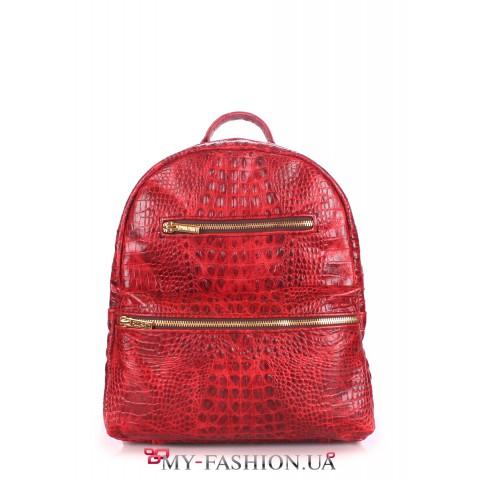 Кожаный рюкзак насыщенного красного цвета