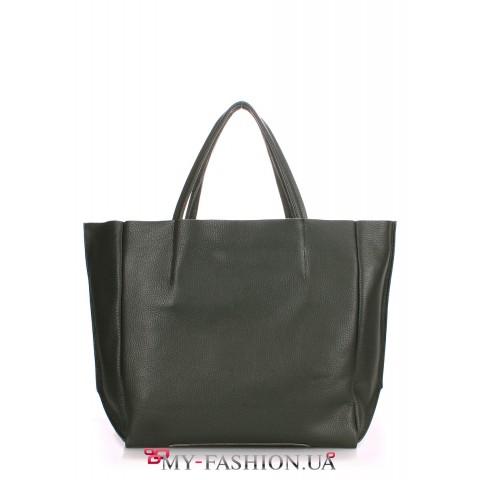Тёмно-серая сумка из натуральной кожи