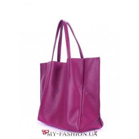 Привлекательная вместительная сумка из натуральной кожи