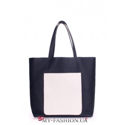 Вместительная сумка из натуральной кожи