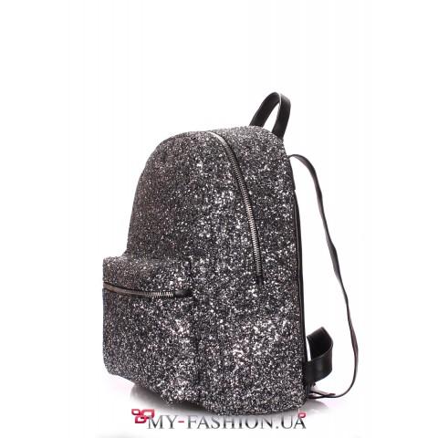 Рюкзак женский - блестящий чорно-серый
