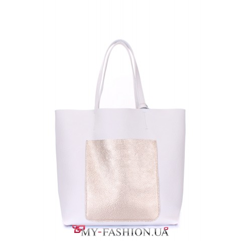 Комбинированная кожаная сумка с карманом