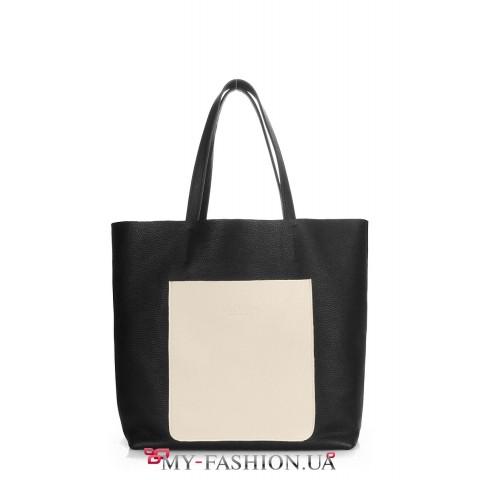 Вместительная кожаная сумка-мешок
