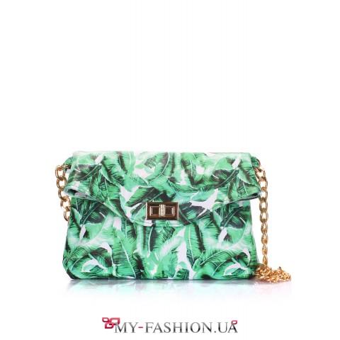 Яркая кожаная сумка-клатч с цепочкой