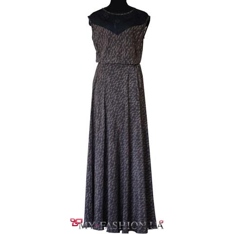 Длинное шёлковое платье с леопардовым принтом