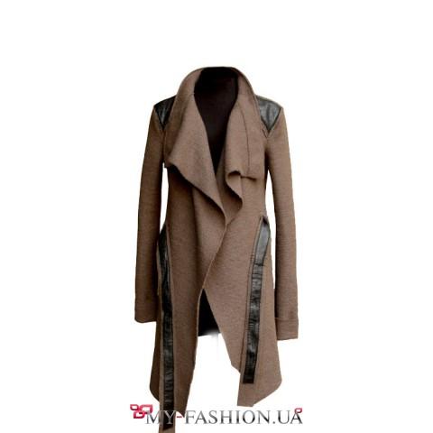 Шерстяное пальто с декорированными плечами- на отшив из другой ткани