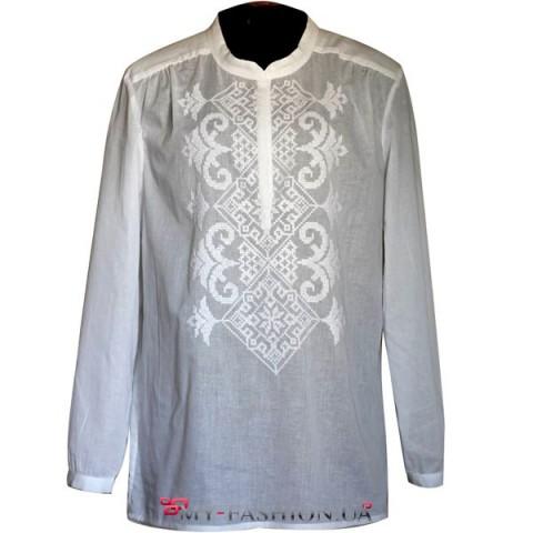Белая вышиванка из батиста с машинной вышивкой