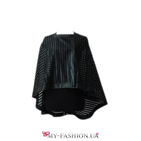 Чёрная накидка из прозрачного полосатого фатина