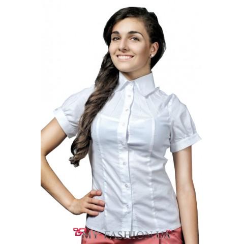 Белая рубашка с коротким рукавом фонариком и оригинальной кокеткой