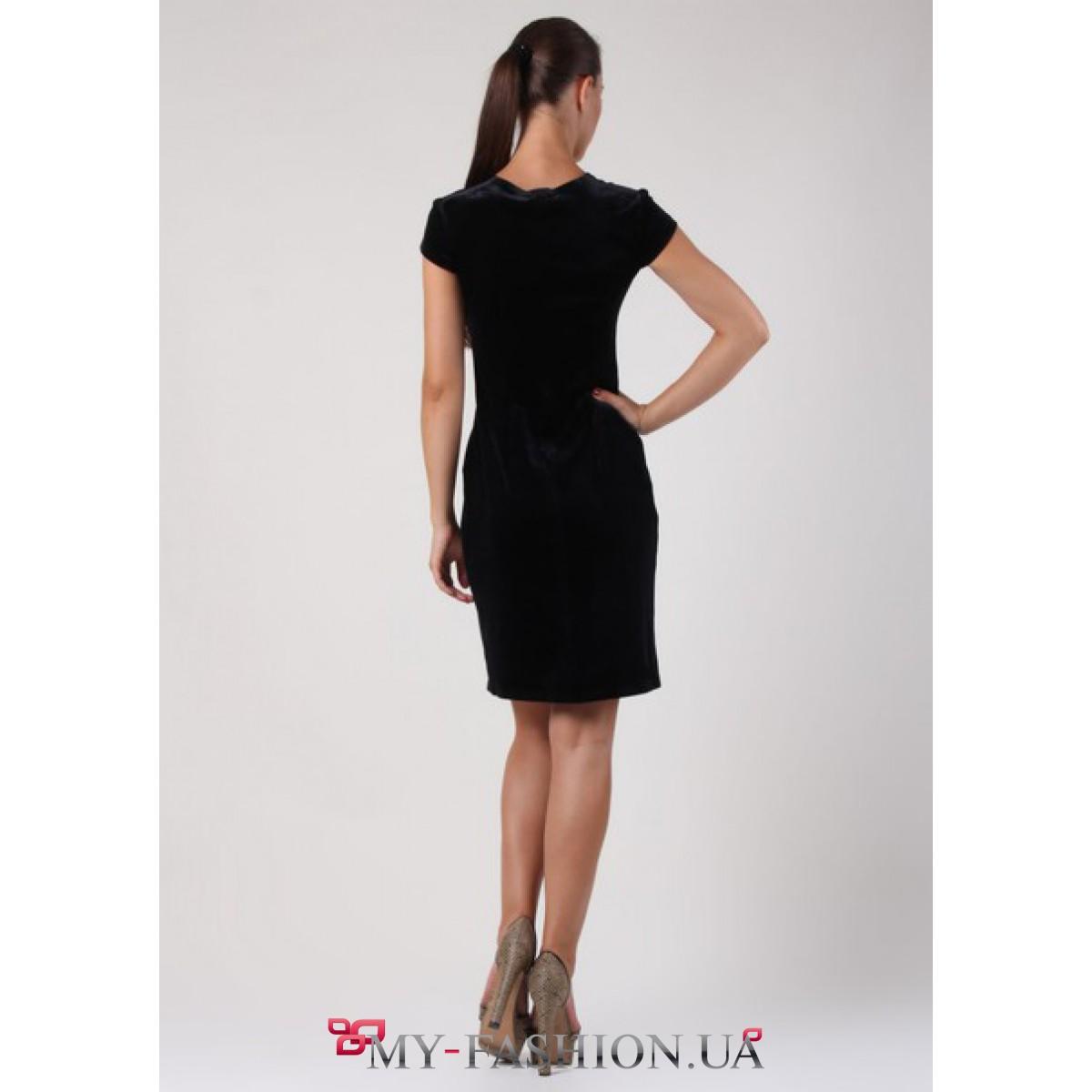 Купить Бархатное Черное Платье