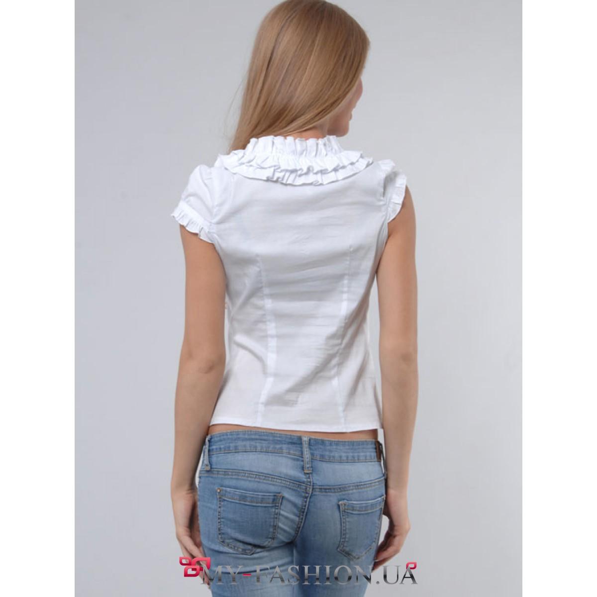 Белая Блузка С Воланами Купить