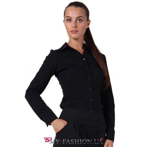 Классическая черная рубашка с длинным рукавом