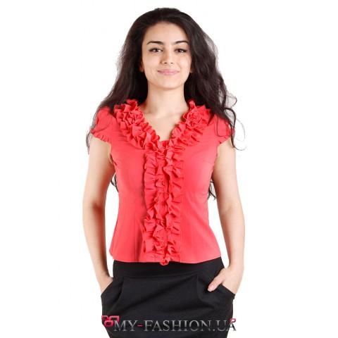 Коралловая хлопковая блуза с воланами