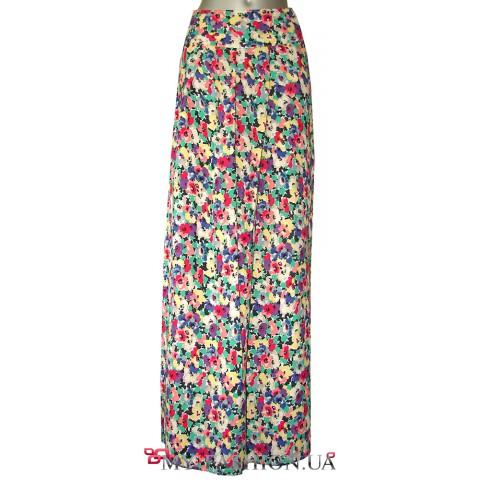 Длинная разноцветная юбка из москрепа