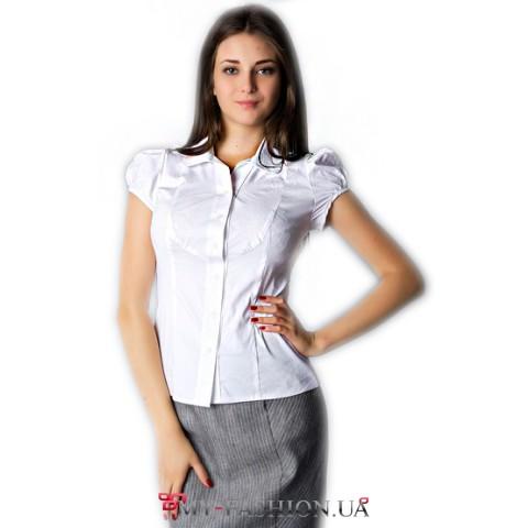 Белая офисная блуза с рукавами-фонариками